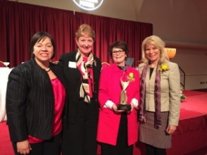 Athena goddesses, from left, Renee Moe, Donna Beestman, Ellen Foley and Kim Sponem at the 2015 Athena Awards.